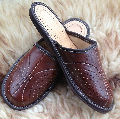 Mens Leather Slippers Slip On Shoes Moccasins Size 7 8 9 10 11 12 13 UK Mules 9