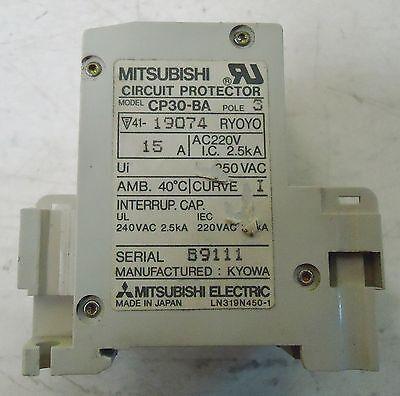 Mitsubishi Circuit Protector M/N Cp30-Ba, 3 Pole, Ac 15A,S/N B9111 Made In Japan 3