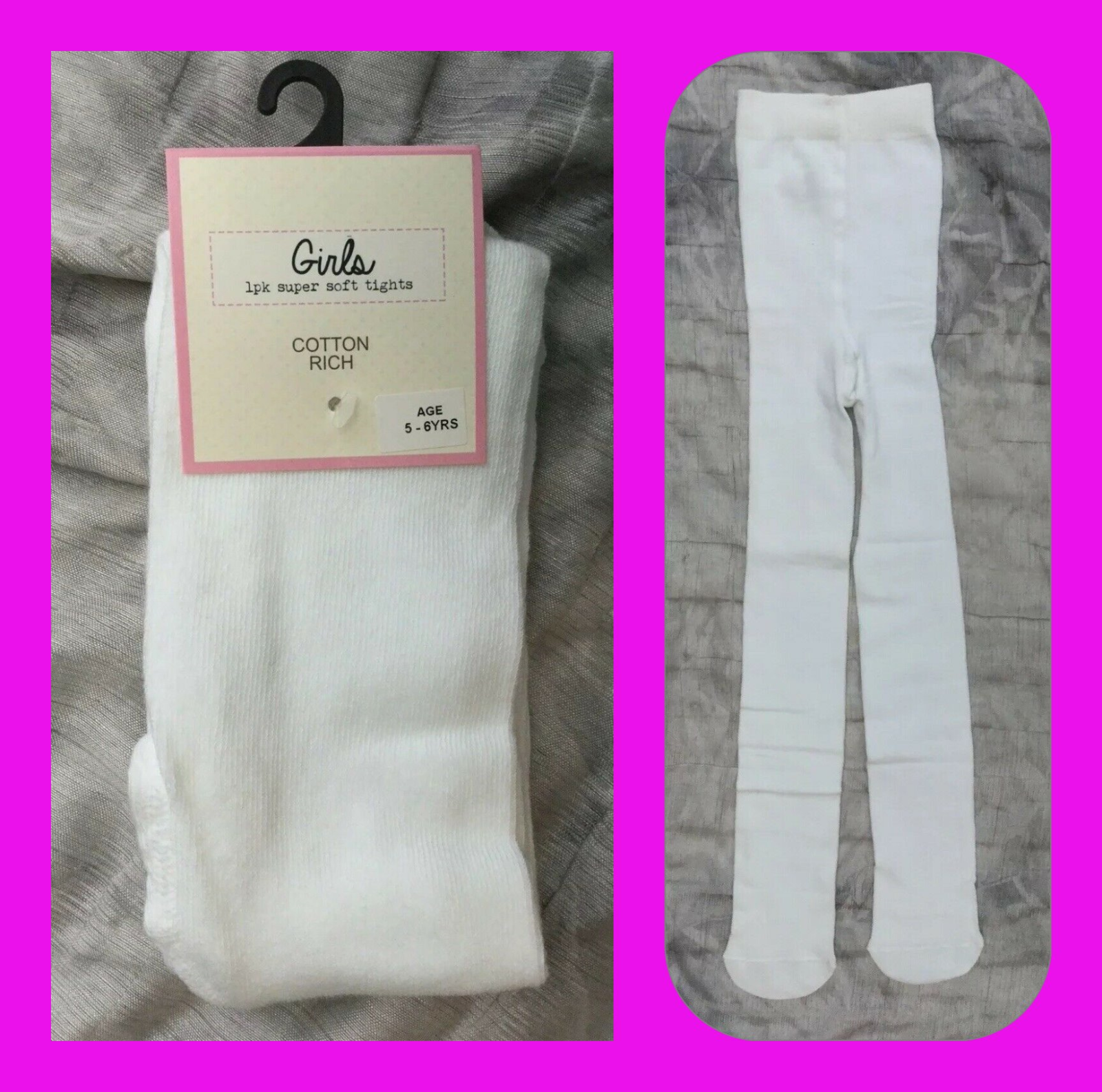 COSY age 0-6 MTHS  Girls White Super-Soft warm Cotton rich Tights bnwt EX-STORE 2