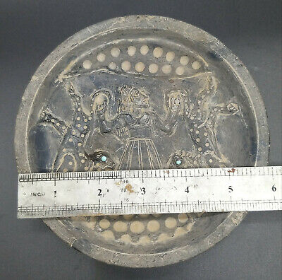 Very Ancient Old Bactrain King Hunting Chatta Craved Unque Frige Stone Plate 2