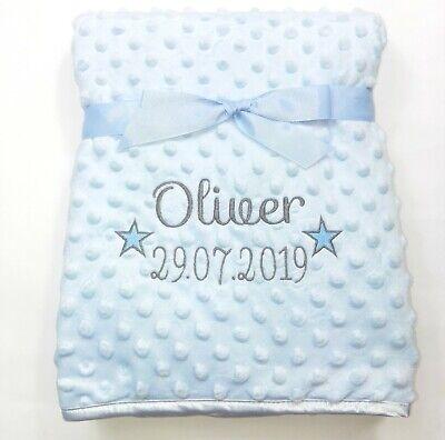 Personalised Baby Boy Girl Gender Neutral Blanket, Custom Embroidered Gift,Stars 5