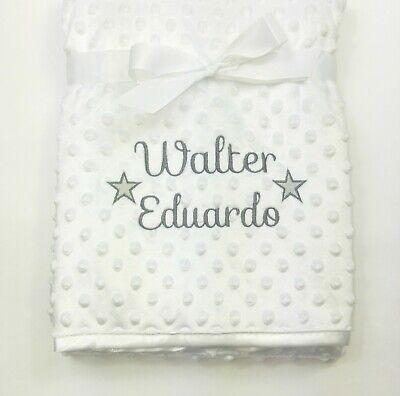 Personalised Baby Boy Girl Gender Neutral Blanket, Custom Embroidered Gift,Stars 4