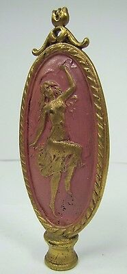Antique Art Nouveau Finial partially nude dancing lady nymph brass gold pink 10