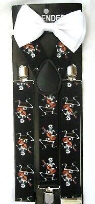 White Skulls Tuxedo Adjustable Bow Tie+White Skulls Adjustable Suspenders Combo! 4