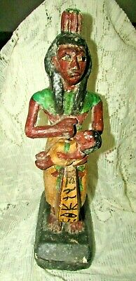 "Rare Pharaonic Statue, Ancient Egyptian Wood Carvings & ‬‏Enamel. ""HOLD A TOT"" 5"