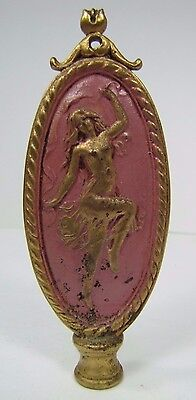 Antique Art Nouveau Finial partially nude dancing lady nymph brass gold pink 5
