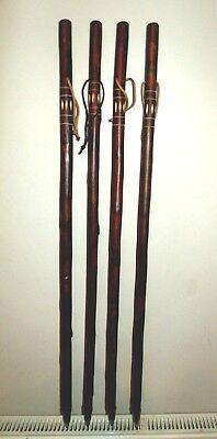 Wooden Walking Stick /Cane Unusual Flamed Carved Chestnut Wood Walking Sticks 2