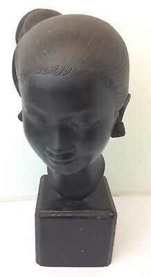 Signed Cast Bronze Chinese Asian Square Mount Fine Figural Bust Art Figure 12