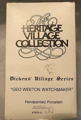 "Dept. 56 ~ Dickens Village ~ ""Geo Weeton Watchmaker"" (1988) ~ Mint In Box 3"