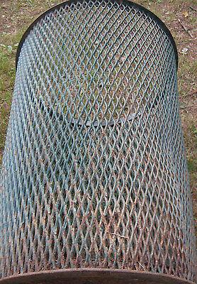 Antique City Park Steel Mesh Trash Can Table Base Fire Pit Waste Basket Hamper 6