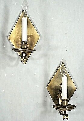 Pair Of Mid Century Modern Diamond Back Scrolled Arm Brass Sconces 2