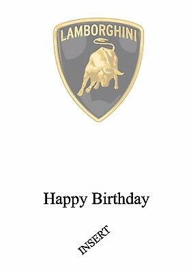 personalised birthday card Lamborghini sports car any name/age/relation/ 2