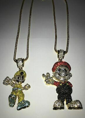 Luigi Mario Chain Iced Out Necklace Bling Shiny Rapper Chain Hip Hop Shine Ice