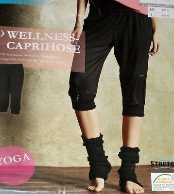 Damen WELLNESS CAPRI Capri Fitnesshose Caprihose Gr.S M grau-schwarz NEU