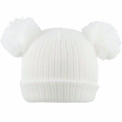 Baby 2 Pom Pom Hat Double Bobble Beanie Knitted Winter Warm Boy Girl Newborn-12M 4