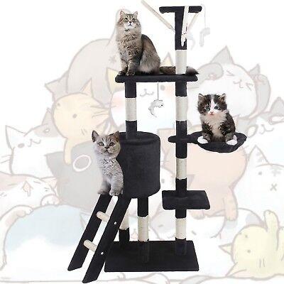 🐈JL Comfurni Cat Tree Sisal Scratching Post Kitten Scratcher Nest Tower High 6