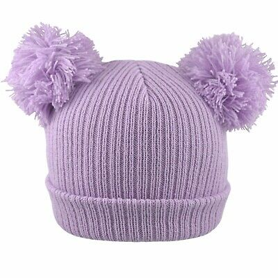 Baby 2 Pom Pom Hat Double Bobble Beanie Knitted Winter Warm Boy Girl Newborn-12M 6
