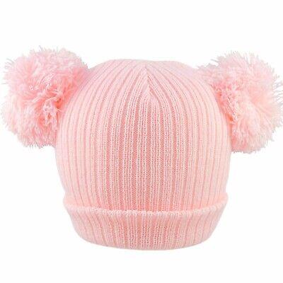 Baby 2 Pom Pom Hat Double Bobble Beanie Knitted Winter Warm Boy Girl Newborn-12M 3