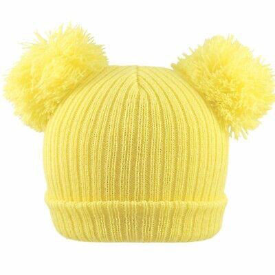 Baby 2 Pom Pom Hat Double Bobble Beanie Knitted Winter Warm Boy Girl Newborn-12M 7