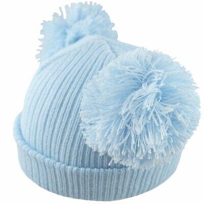 Baby 2 Pom Pom Hat Double Bobble Beanie Knitted Winter Warm Boy Girl Newborn-12M 8