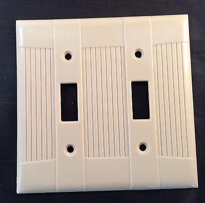 BULK Box of 10 Two Gang Eagle Bakelite Toggle Ivory Wall Plates 139V-Box Vintage 10