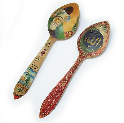 Vintage 1970's Turkey Handpainted Wood Spoons Signed S. Tirayki Konya 5