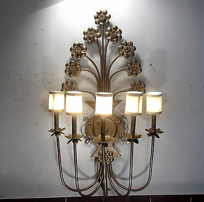 Antique Vintage Sconce Large 5 Light Ornate Light Floral Unique 5