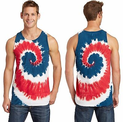 New Men's Tank Top Muscle Workout T-Shirt Tie Dye Dyed Died Two Tone Sleeveless 4