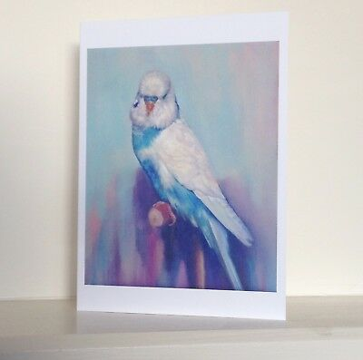 Budgie blank greeting card of fine art oil painting baby budgerigar on finger