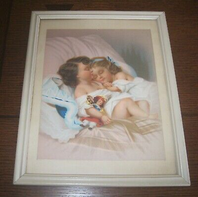 2 Vintage Victorian Color Chromolithographs Two Girls Kissing Sleeping 2