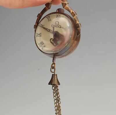Antique Chinese Copper Crystal Pendant Pocket Watch Mechanized Handicraft Gift 2