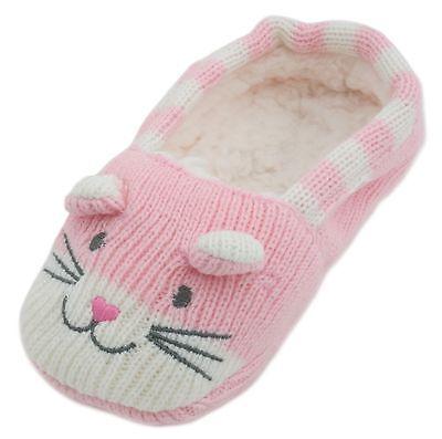 RJM Girls Soft Knitted Cat Slipper Socks with Grippy Soles 3