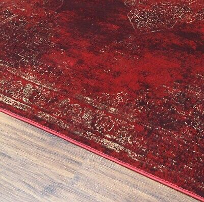 Burgundy Rug Classic Vintage Design Traditional Faded Distressed Ruby Red 10