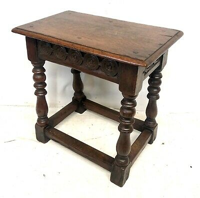 # Set 3 Antique Victorian Carved Oak Joint Stools Occasional Tables Lamp Stands 10