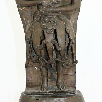 antique 19th C bronze Burial Statue, Bali Java Indonesia or Hindu Deity & Naga 8