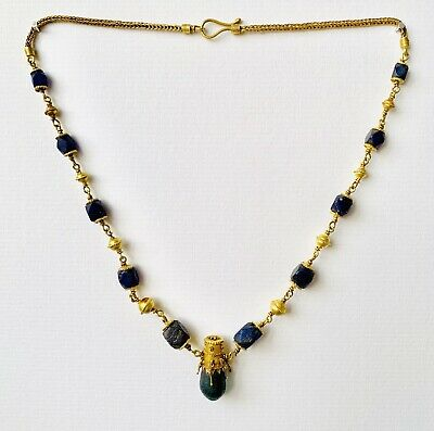 BEAUTIFUL Ancient Roman Gold Pendant Necklace With Green And Blue Glass Beads 4