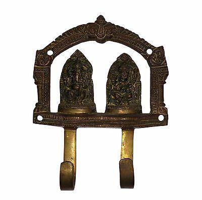 A Vintage Unique AUSPICIOUS Deities GANESHA LAKSHMI BRASS COAT HOOK KEY HANGER 6