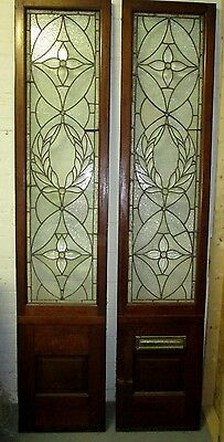 Monumental 9 Ft. Pair Beveled Antique Glass Door Side- Lites W/10 Jewels # 531 5