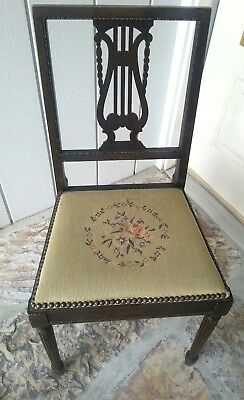 Antique Harp Chair Walnut with Needle point 2
