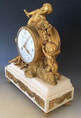 French Clock Garniture in  Gilt Bronze and Marble Circa 1880 11