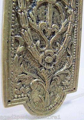 Antique Door Push Plate ornate flame torch ribbons bows floral old brass bronze 11