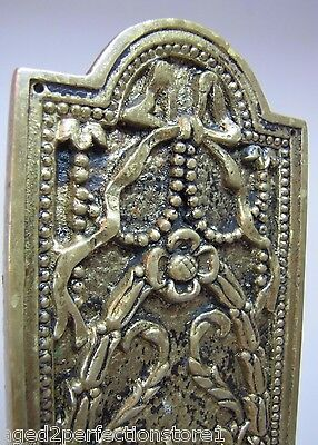 Antique Door Push Plate ornate flame torch ribbons bows floral old brass bronze 9