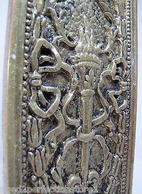 Antique Door Push Plate ornate flame torch ribbons bows floral old brass bronze 10