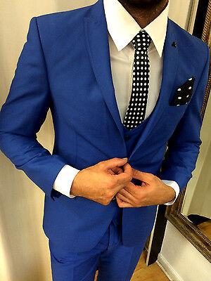 Suitmen Edler Designer Blau Anzug Weste Tailliert Set Passendem Hemd