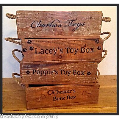New Dog Cat Wooden Toy Box High Quality FREE PERSONALISATION! & PAW PRINTS! 4