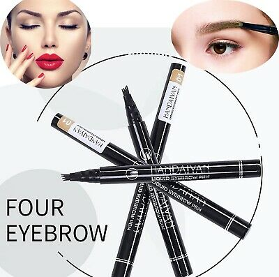 Microblading Tattoo Eyebrow 3D liquid Ink Pen waterproof 4 fork pencil brow UK 5