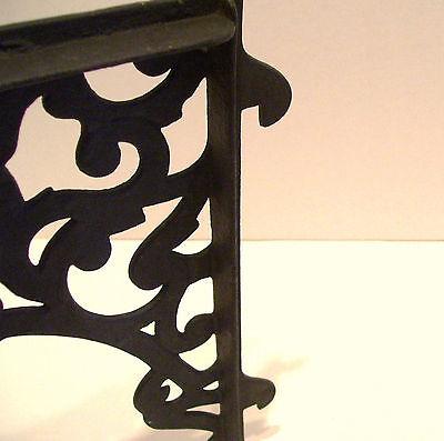 Pair Vintage Steel Shelf Brackets Lock In Type 12 x 14 Inches Victorian Style 7