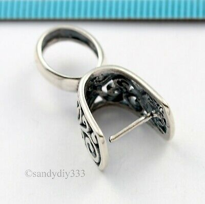 1x ANTIQUE STERLING SILVER PENDANT PINCH BAIL CLASP SLIDE CONNECTOR #3149 3