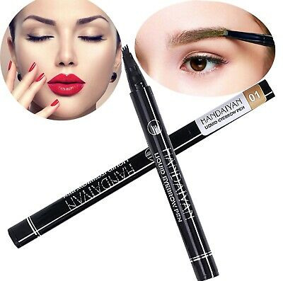 Microblading Tattoo Eyebrow 3D liquid Ink Pen waterproof 4 fork pencil brow UK 6
