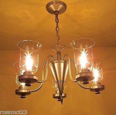 Vintage Lighting pewter type finish 1940s chandelier by Lightolier 2